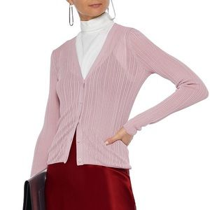 🆕Theory Pointelle Cardigan Dark Lilac Glossed S